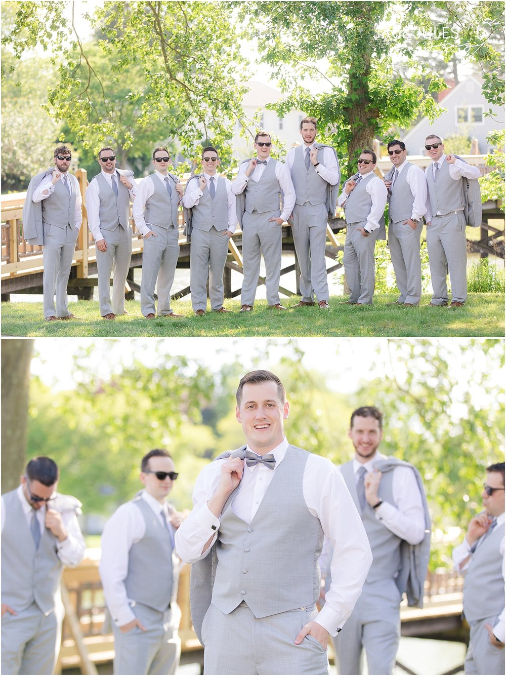 groomsmen in gray suits in spring lake nj