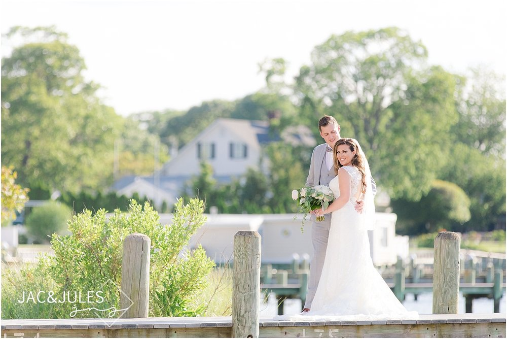 romantic wedding photo of bride and groom at clarks landing