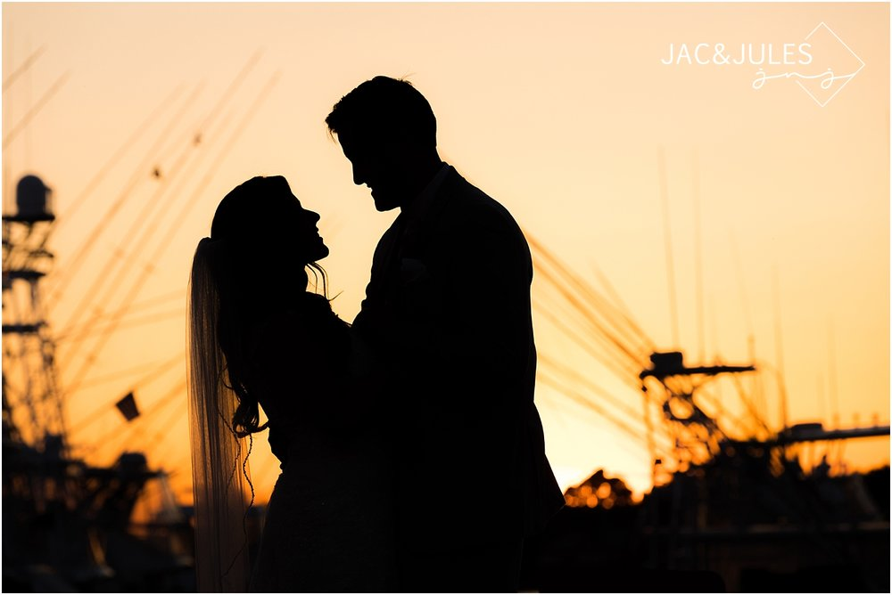 sunset wedding photo at clarks landing in point pleasant nj