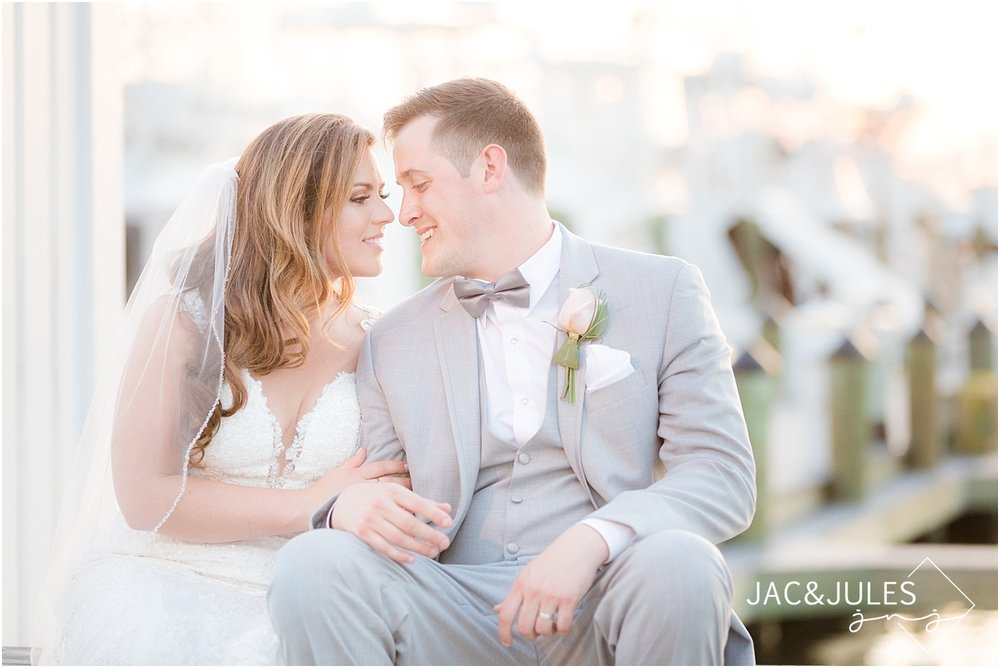 sunset photo of bride and groom at clarks landing in point pleasant nj