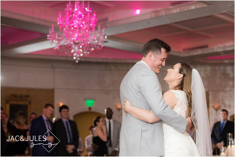 bride and groom first dance at clarks landing yacht club in point pleasant nj