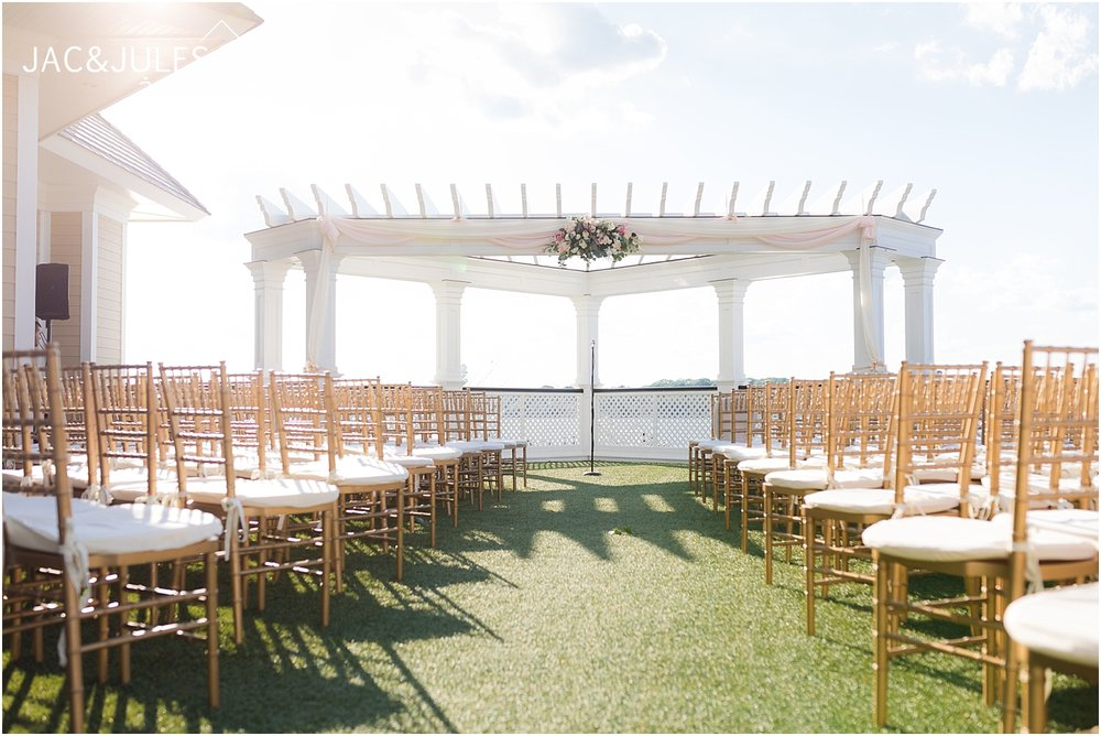 beautiful outdoor wedding ceremony at clarks landing in point pleasant nj