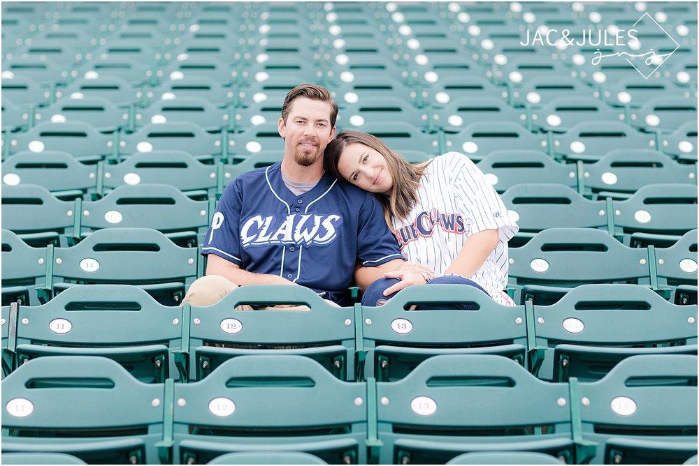 lakewood blue claws stadium engagement photo