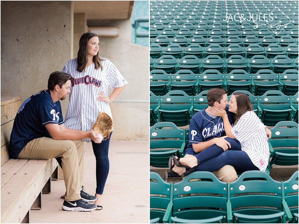 baseball themed engagement photo