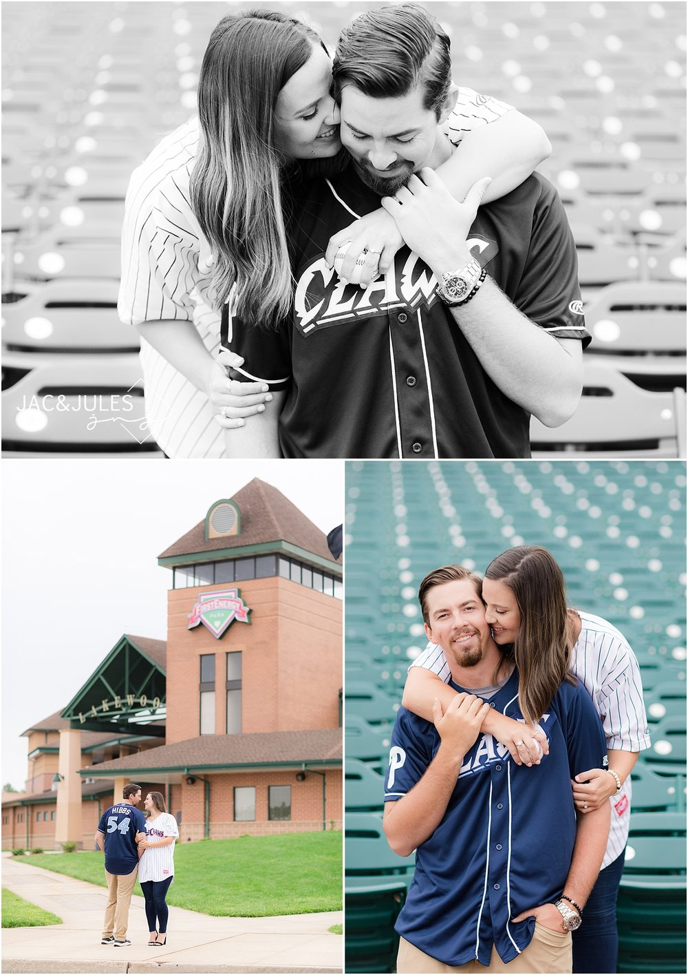 engagement photos at a baseball field in nj