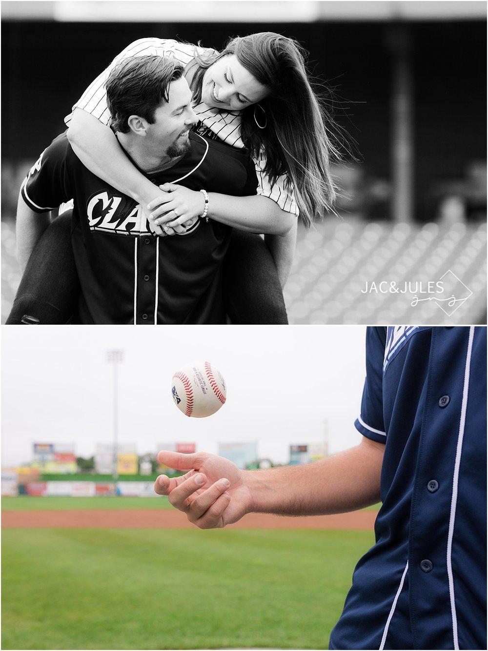 fun engagement photos at baseball field