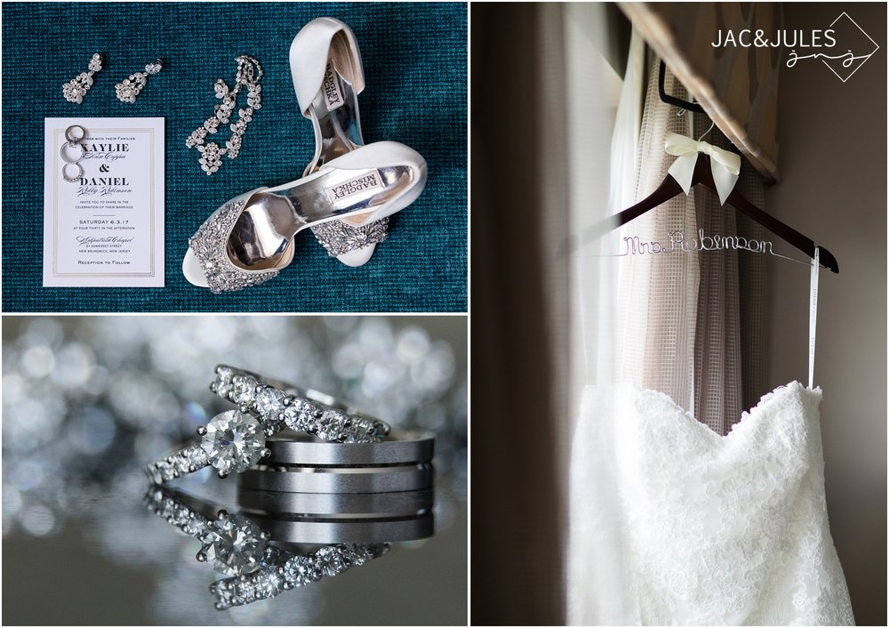Wedding invitation photo, bridal gown, and bridal shoes and accessories at The Heldrich Hotel in New Brunswick, NJ.
