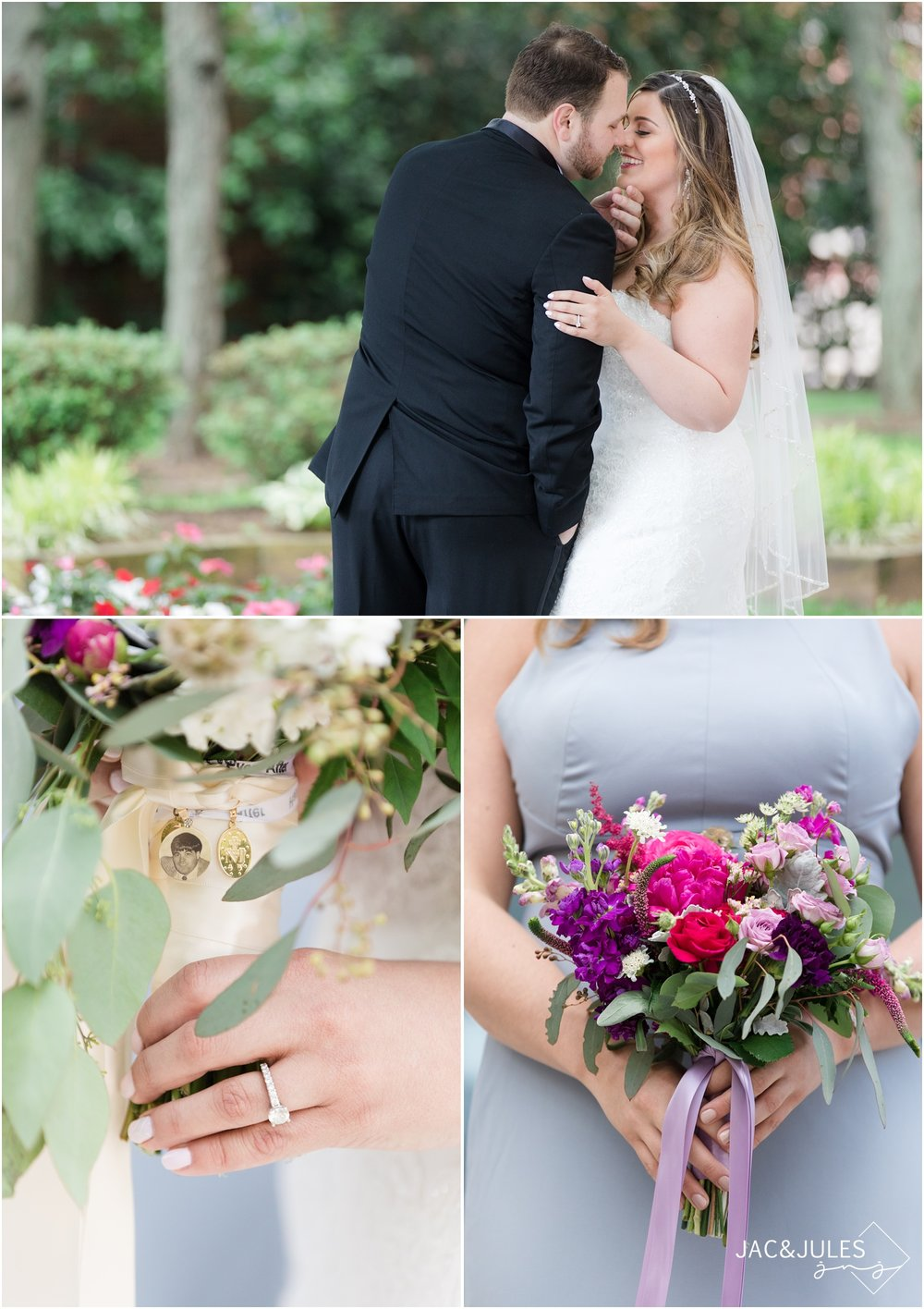 Photos of bridal and bridesmaid bouquets with locket detail by Bloomers in Allentown, NJ.