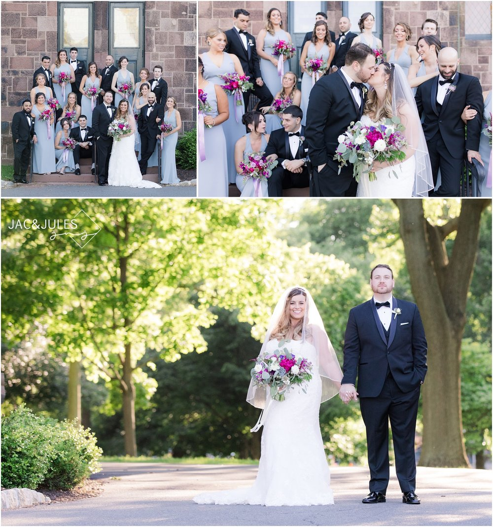 Bridal party photos at Kirkpatrick Chapel on Rutgers New Brunswick Campus.