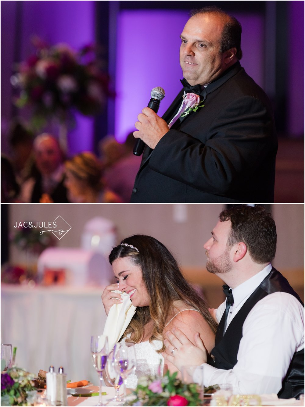 emotional speech from Father of the bride during wedding reception at The Heldrich in New Brunswick, NJ.