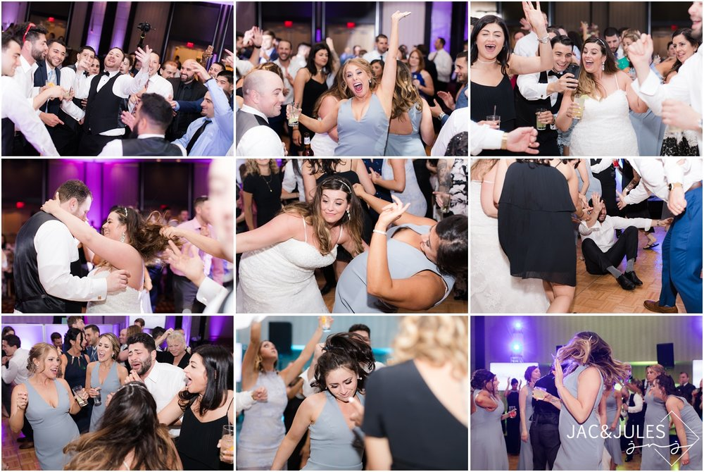 fun dancing photos of guests during wedding reception at The Heldrich in New Brunswick, NJ.