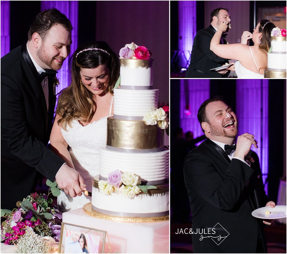 Cake cutting during wedding reception at The Heldrich in New Brunswick, NJ.