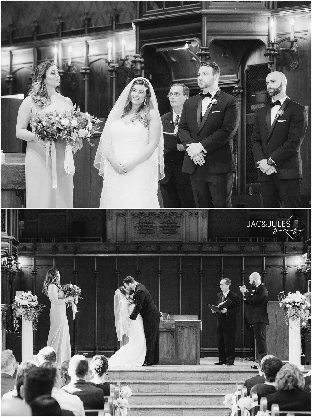 Wedding Ceremony photos at Kirkpatrick Chapel on Rutgers Newbrunswick Campus.
