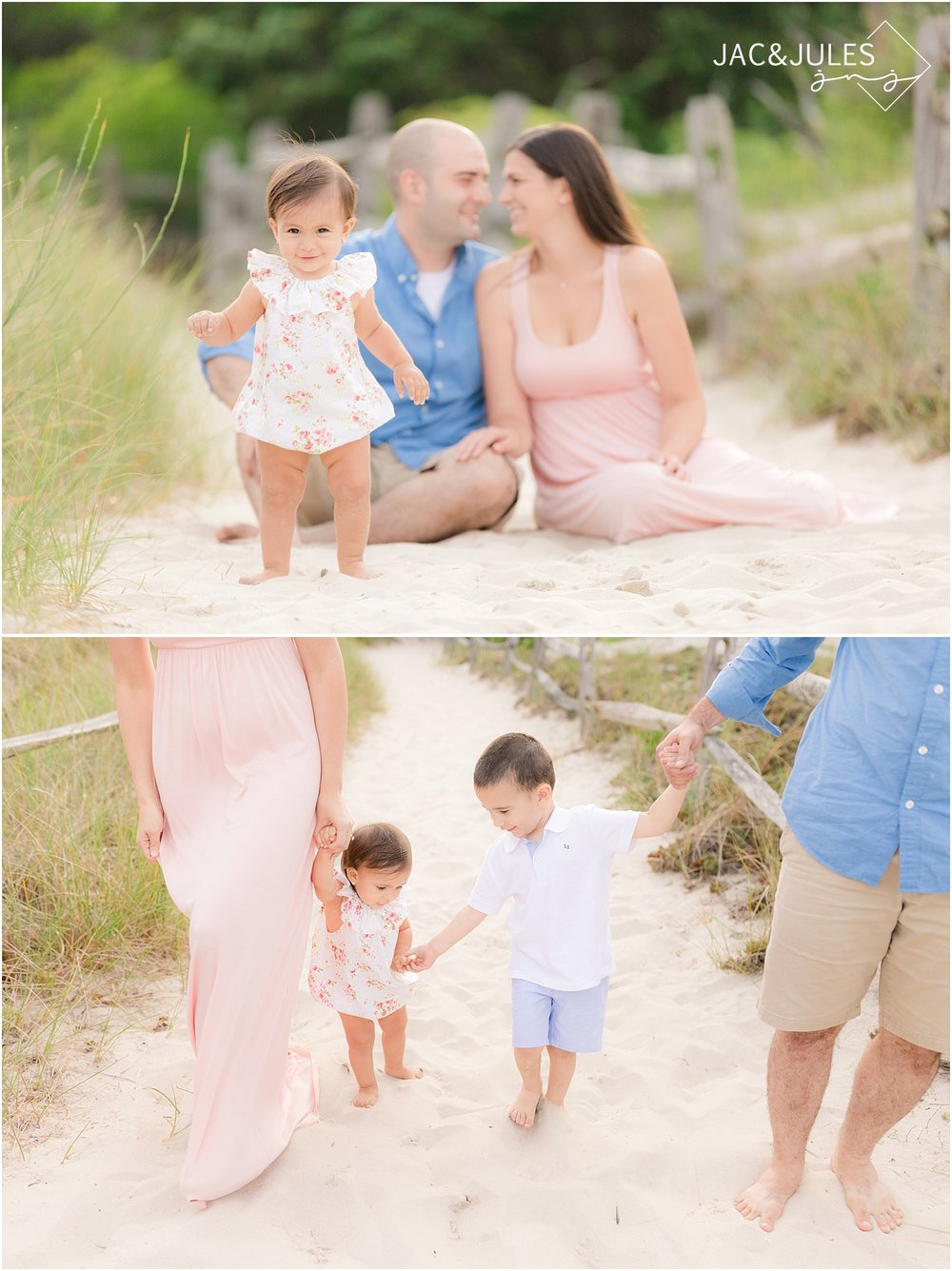 natural light family photo on the beach in NJ