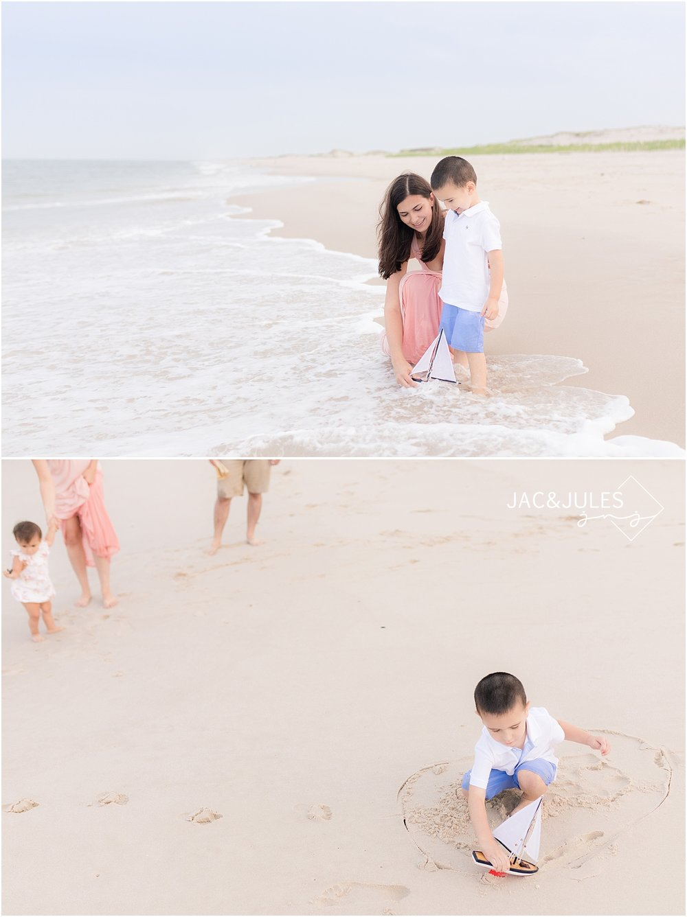 natural light family photography at island beach state park nj