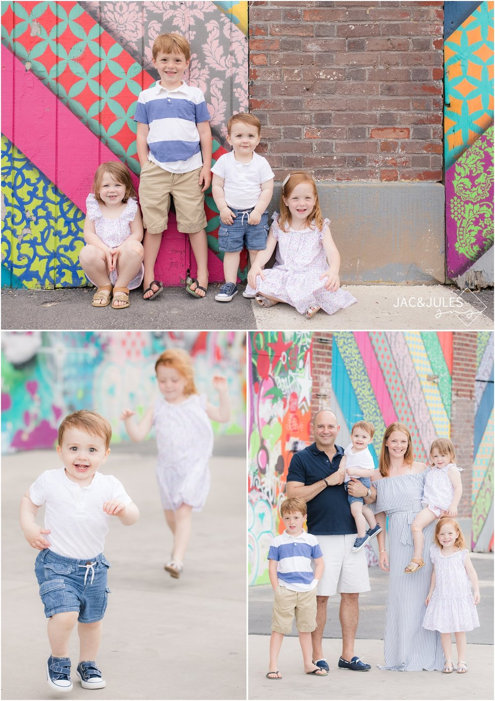fun family photos in asbury park, nj with graffiti.