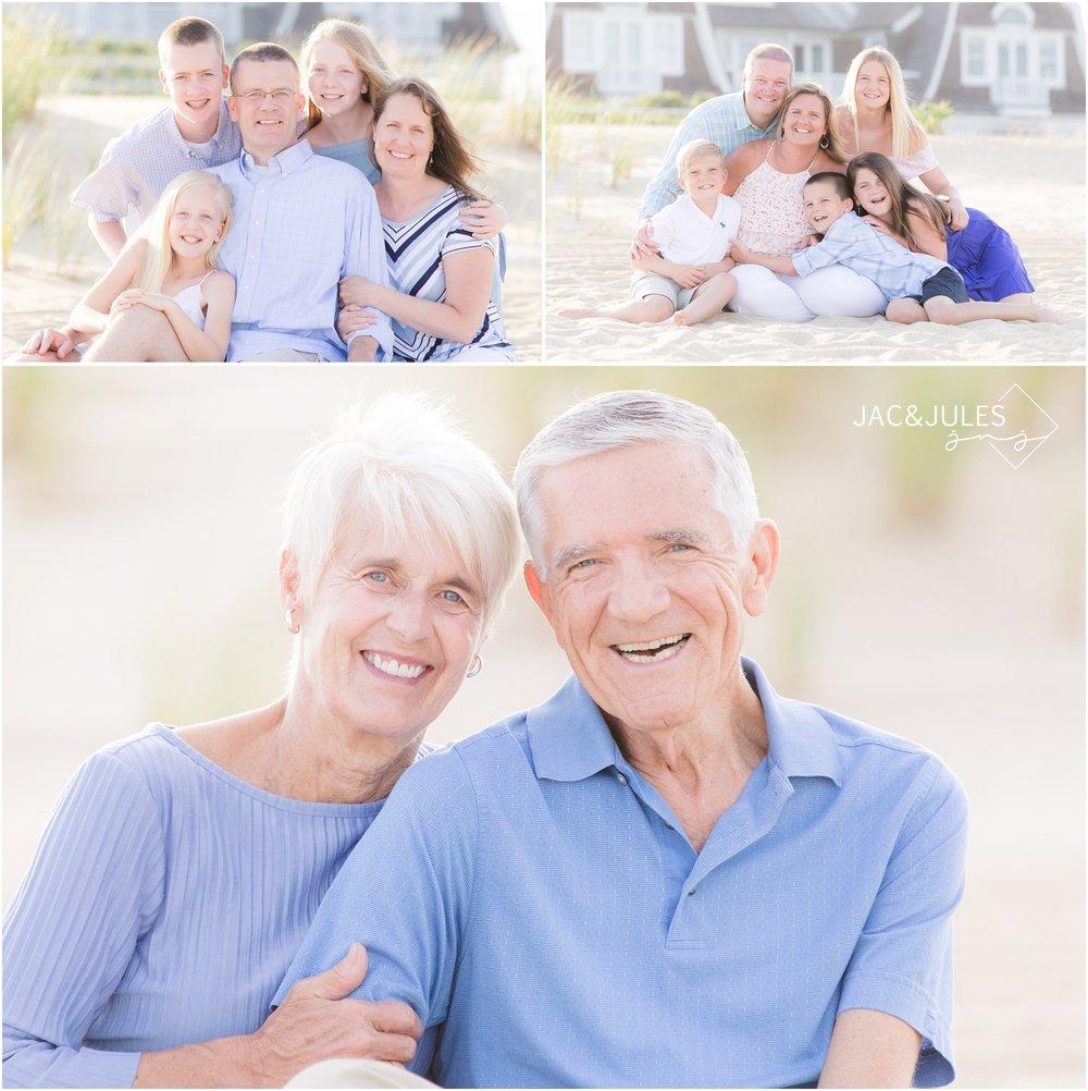 Extended family photo on the beach in Sea Girt, NJ