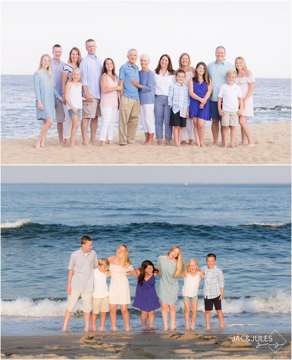 fun Extended family photo on the beach in Sea Girt, NJ