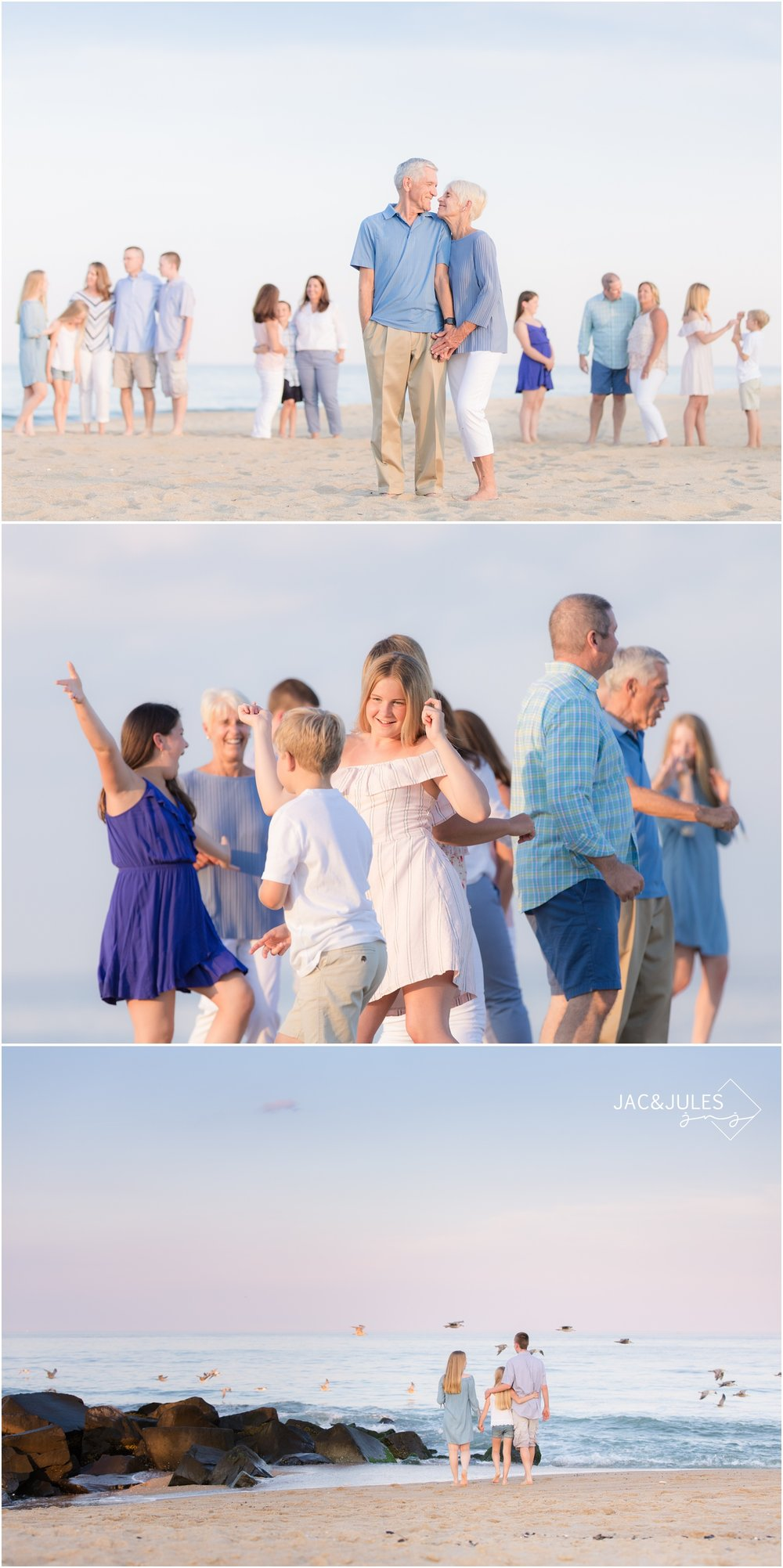 Fun and unique Extended family photos on the beach in Sea Girt, NJ