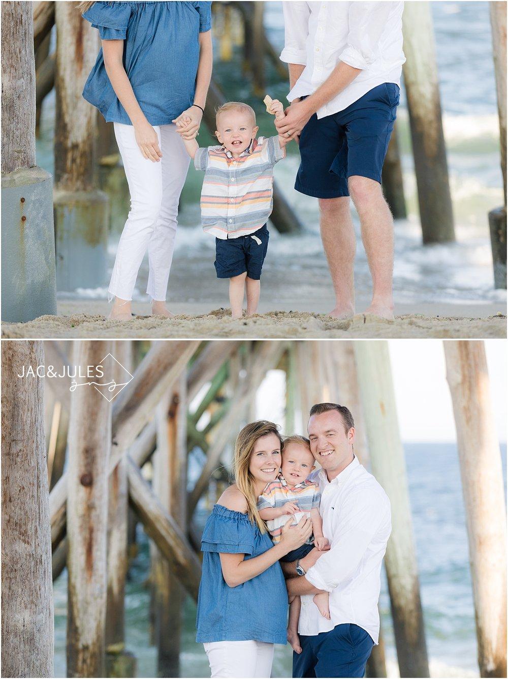 family photo on the beach near the pier in belmar, nj