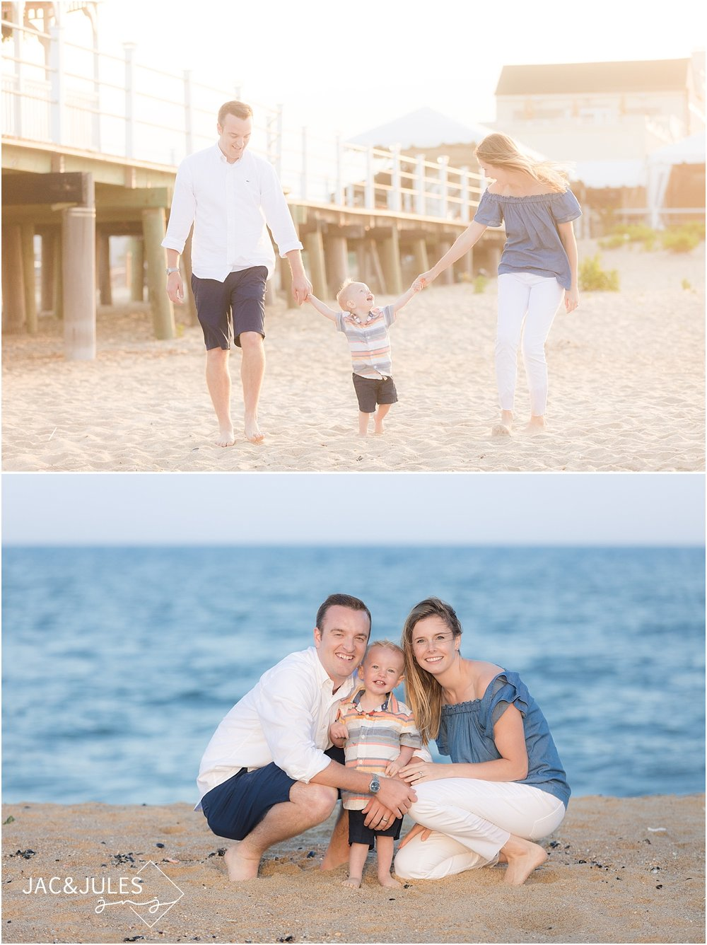 natural light family photo on the beach in belmar nj