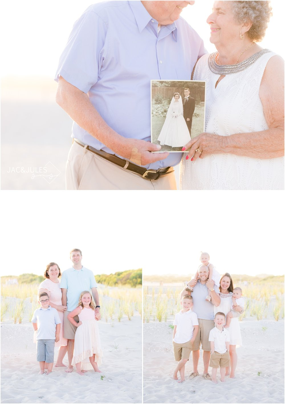 Grandparents anniversary photos on the beach in Cape May, NJ