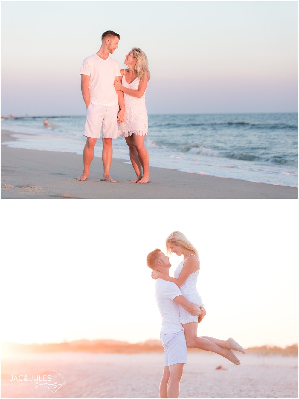 Engagement photos on the beach in Cape May, NJ