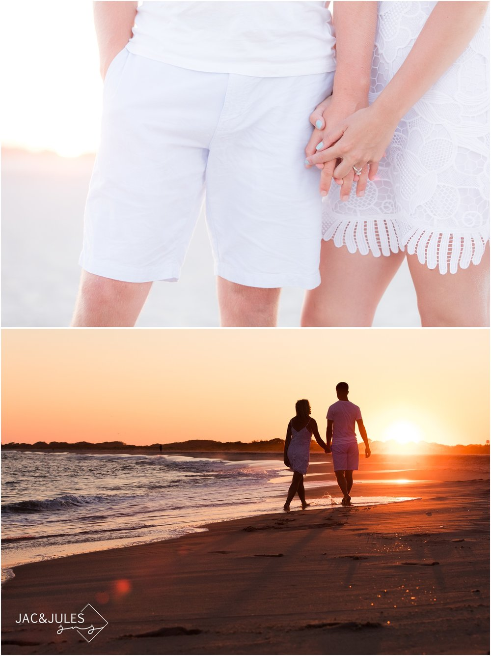 Engagement photos on the beach near Cape May Lighthouse