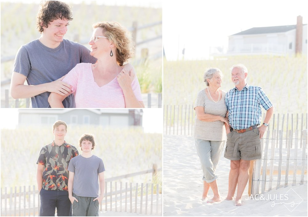 Extended family photos on the beach in Beach Haven, NJ.