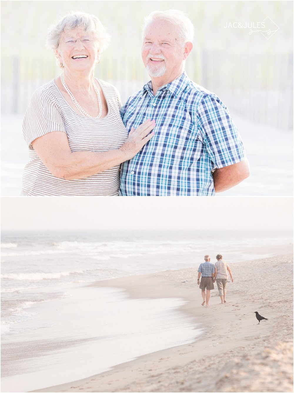 photos of grandparents on the beach in LBI.