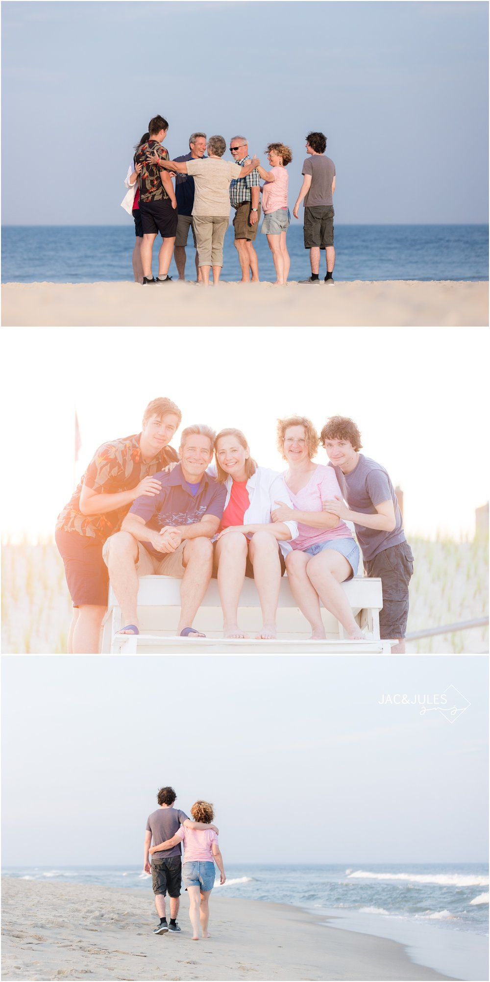 Extended family photos on the beach in LBI.