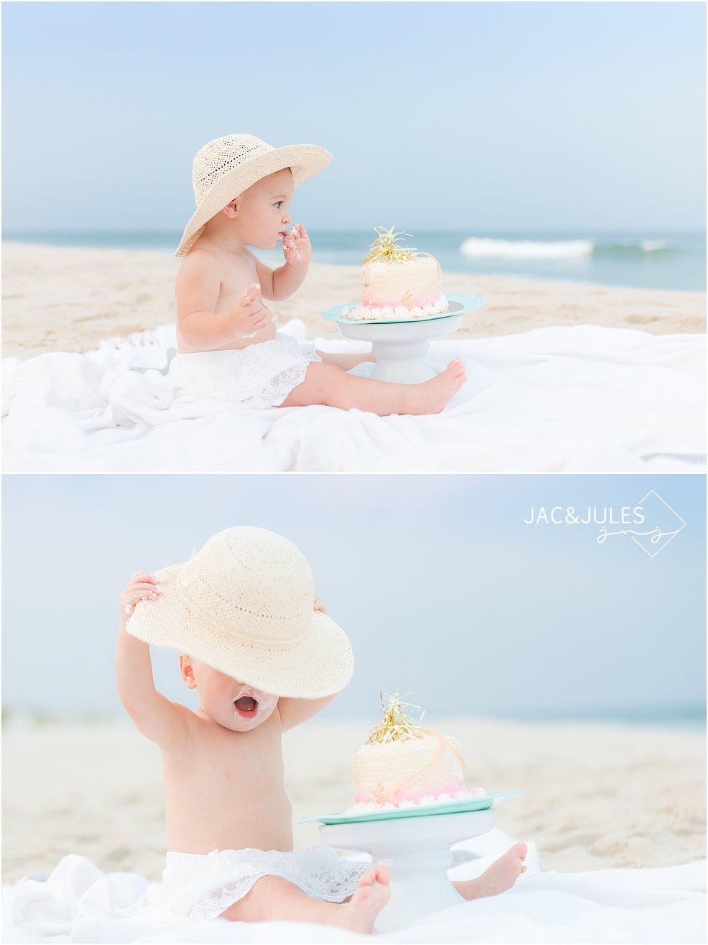 cake smash birthday photos on the beach in new jersey
