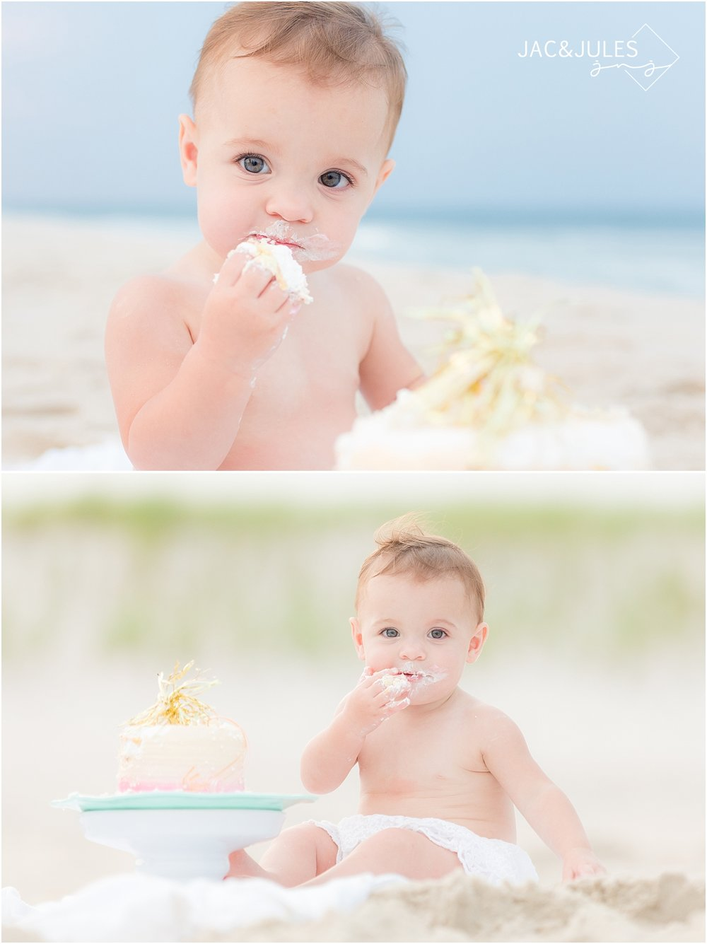 first birthday cake smash pictures on the beach in new jersey