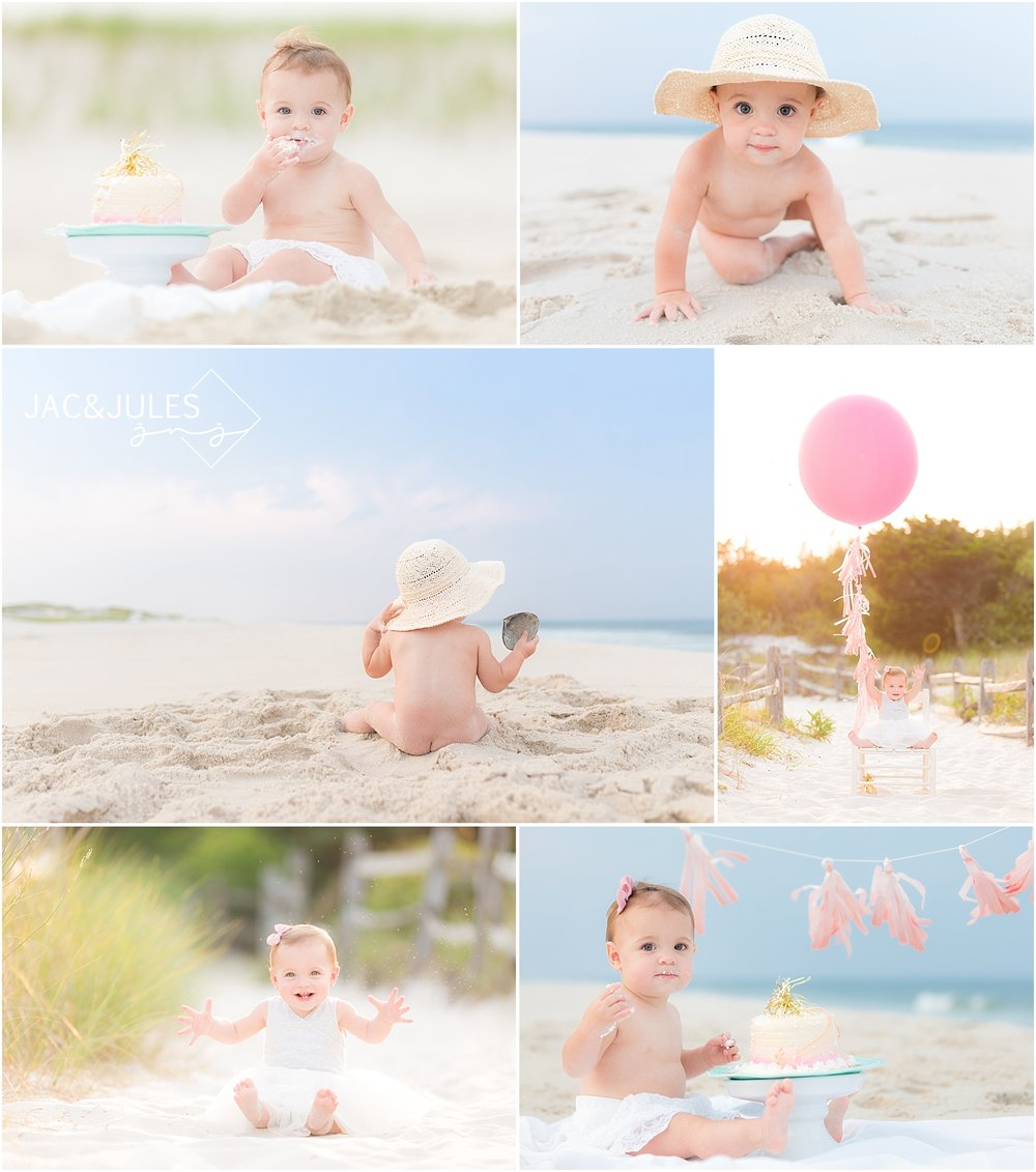 first birthday girl and cake smash on the beach
