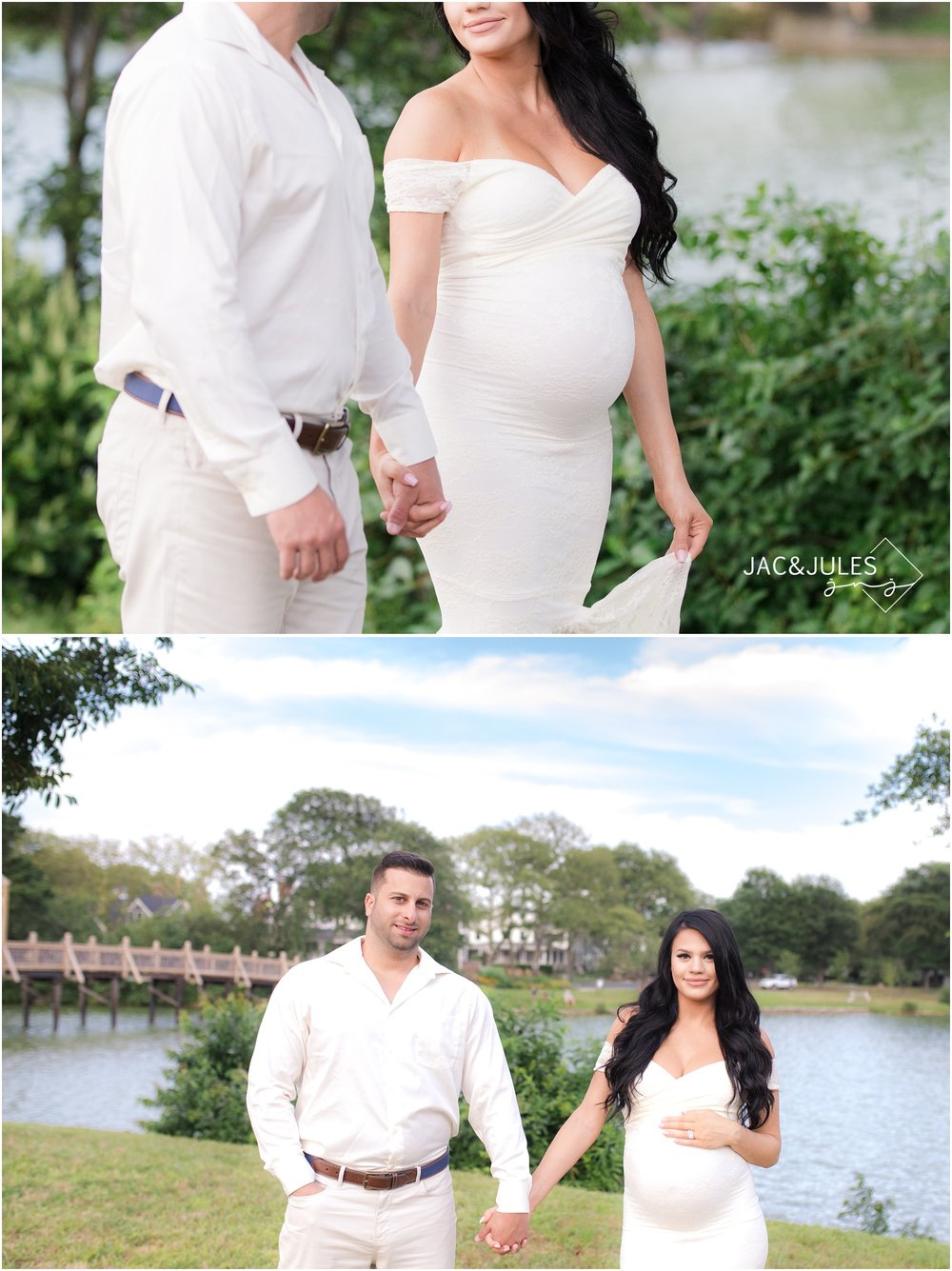 Gorgeous Maternity photos of beautiful pregnant woman and her husband in Spring Lake, NJ.