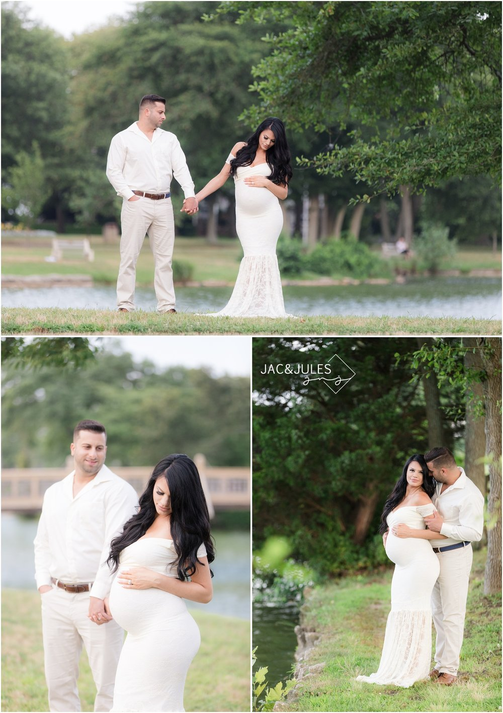 Maternity photos of beautiful pregnant woman and her husband in Spring Lake, NJ.
