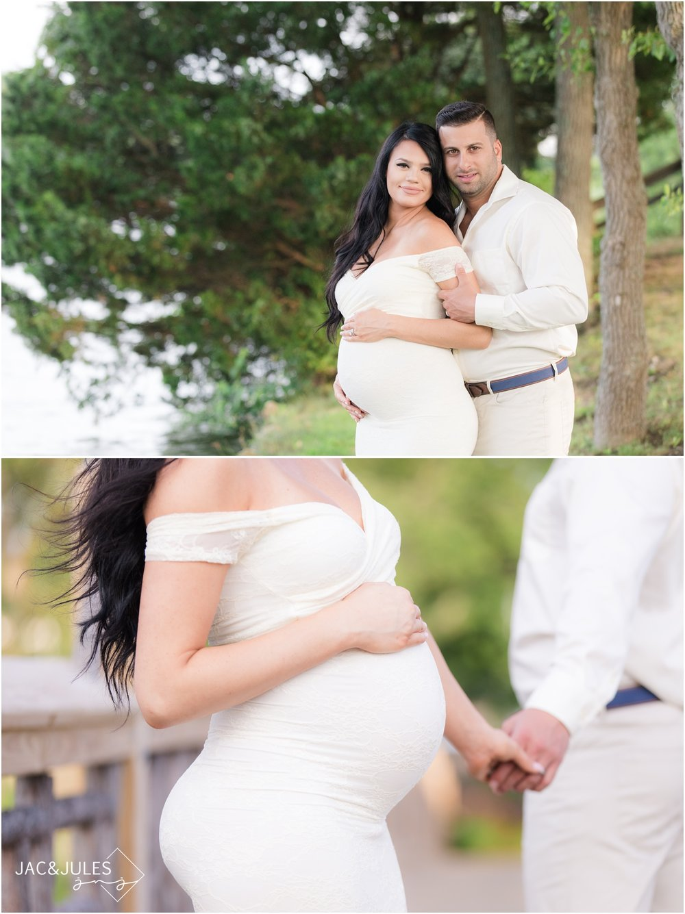 Pretty maternity photos of expectant couple in Spring Lake, NJ