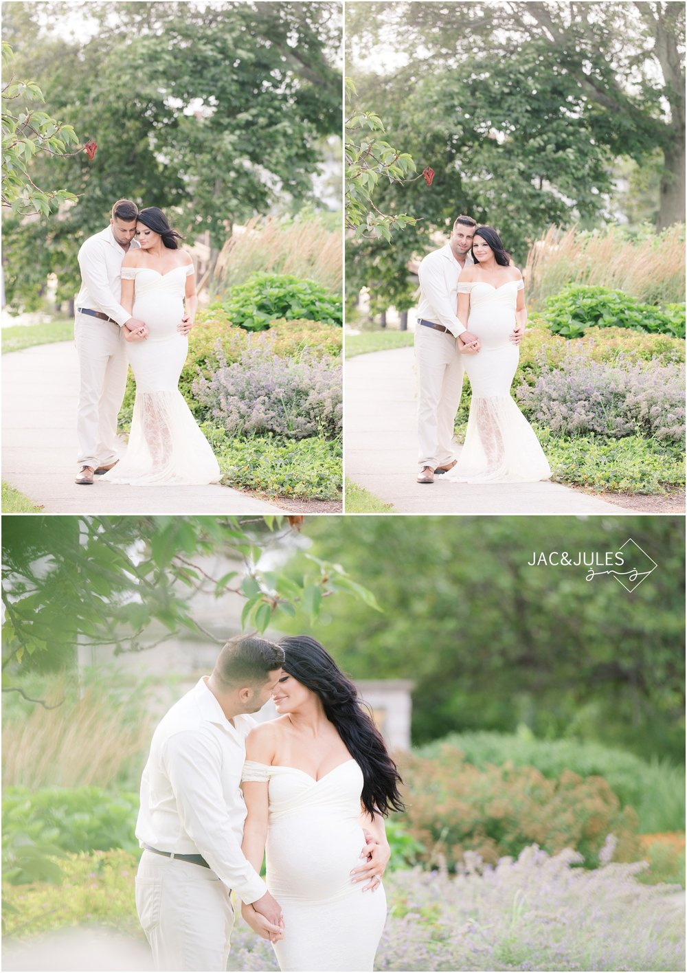Dreamy maternity photos with expectant mom in white lace maternity gown.