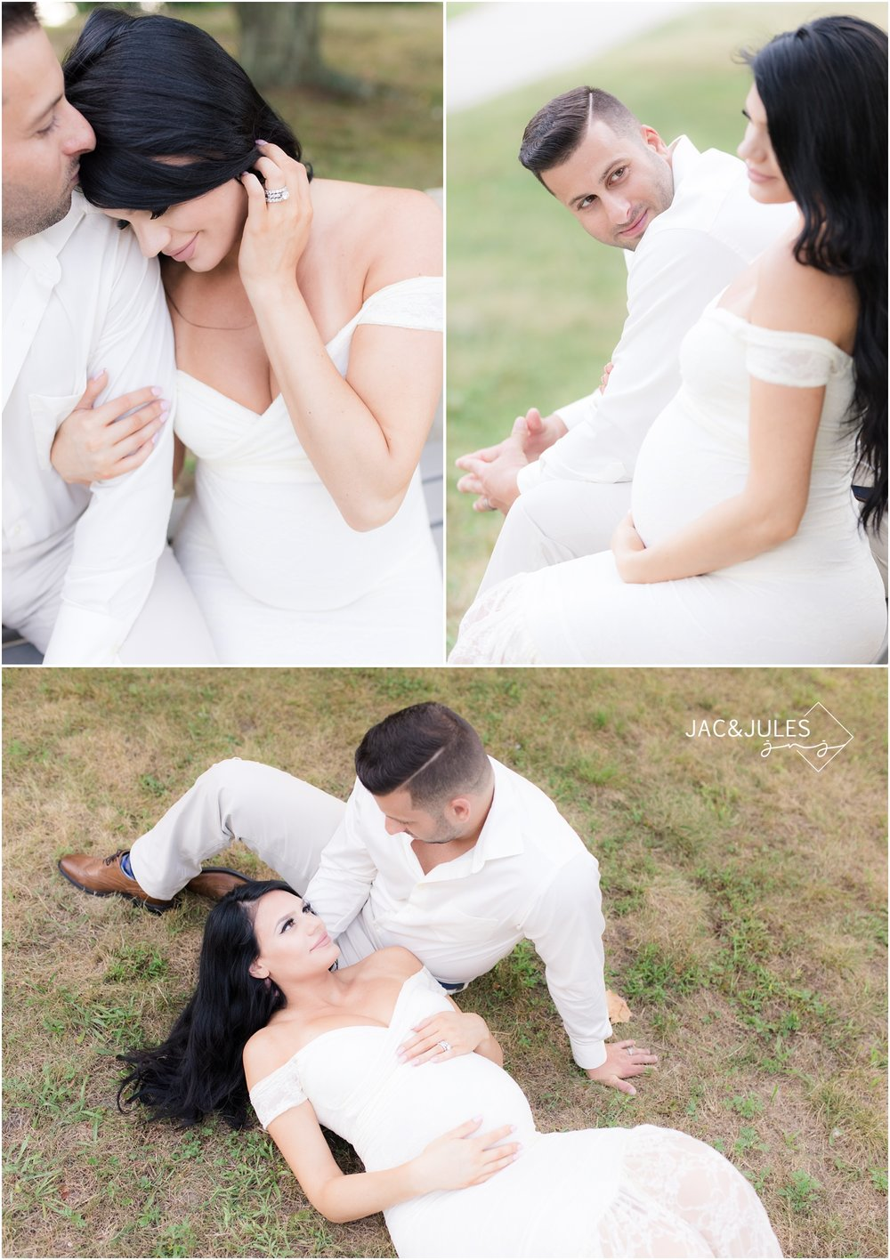 Romantic maternity photos in mermaid style white lace maternity dress