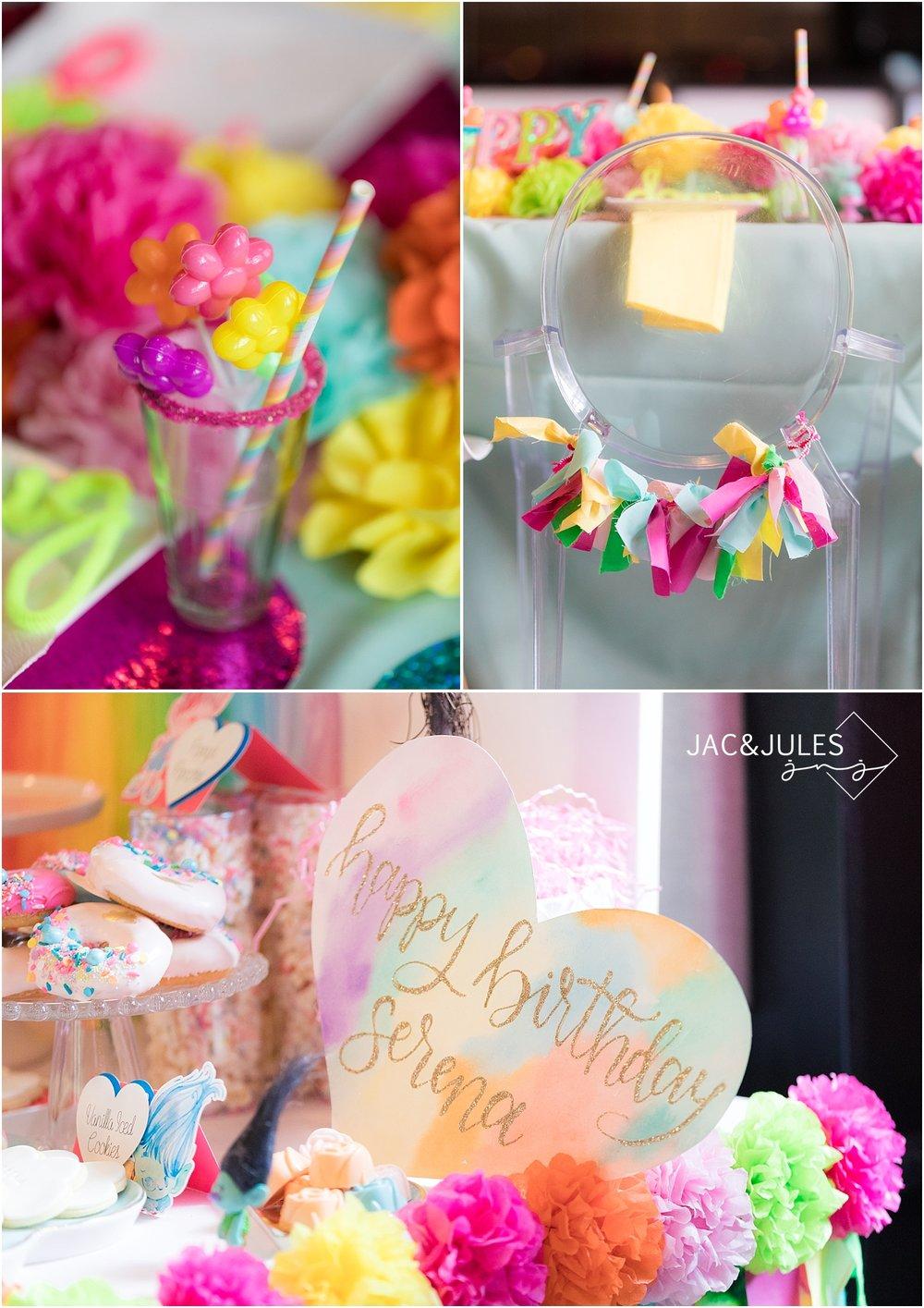 rainbow themed party decor