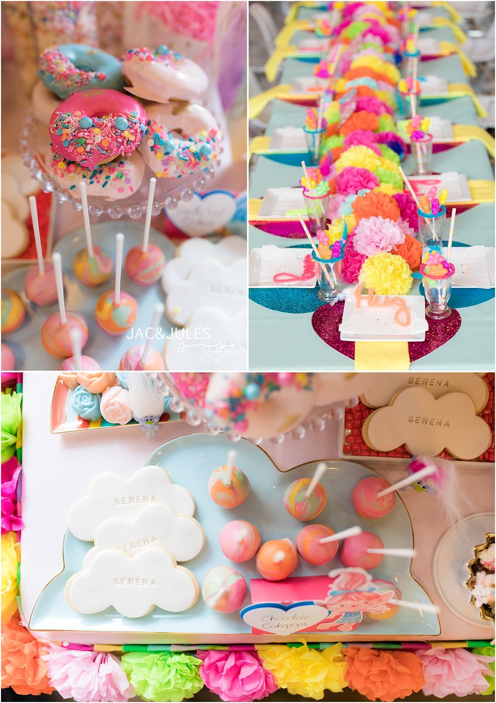 colorful trolls theme dessert table