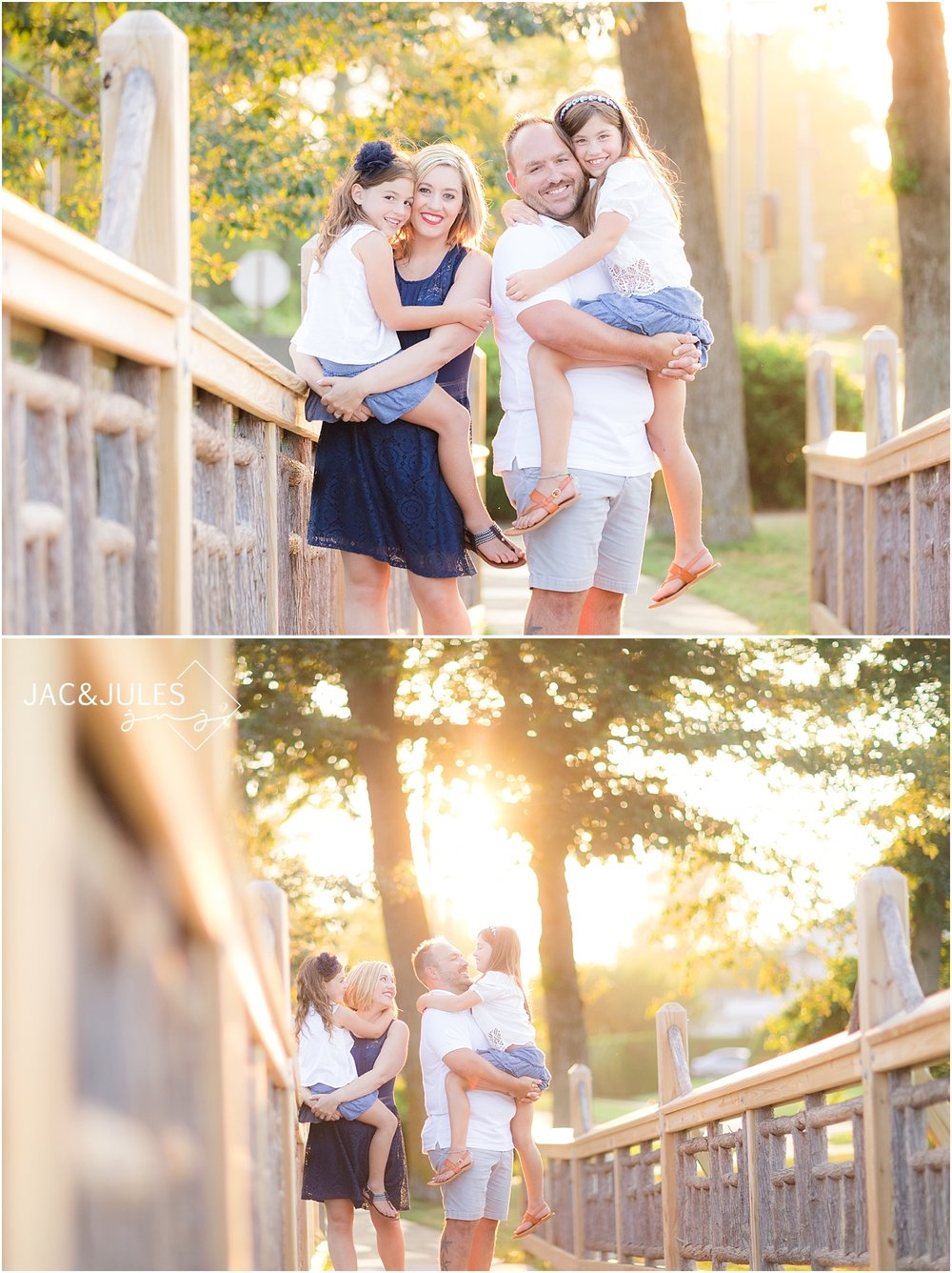 natural light family portraits on the bridge in spring lake park