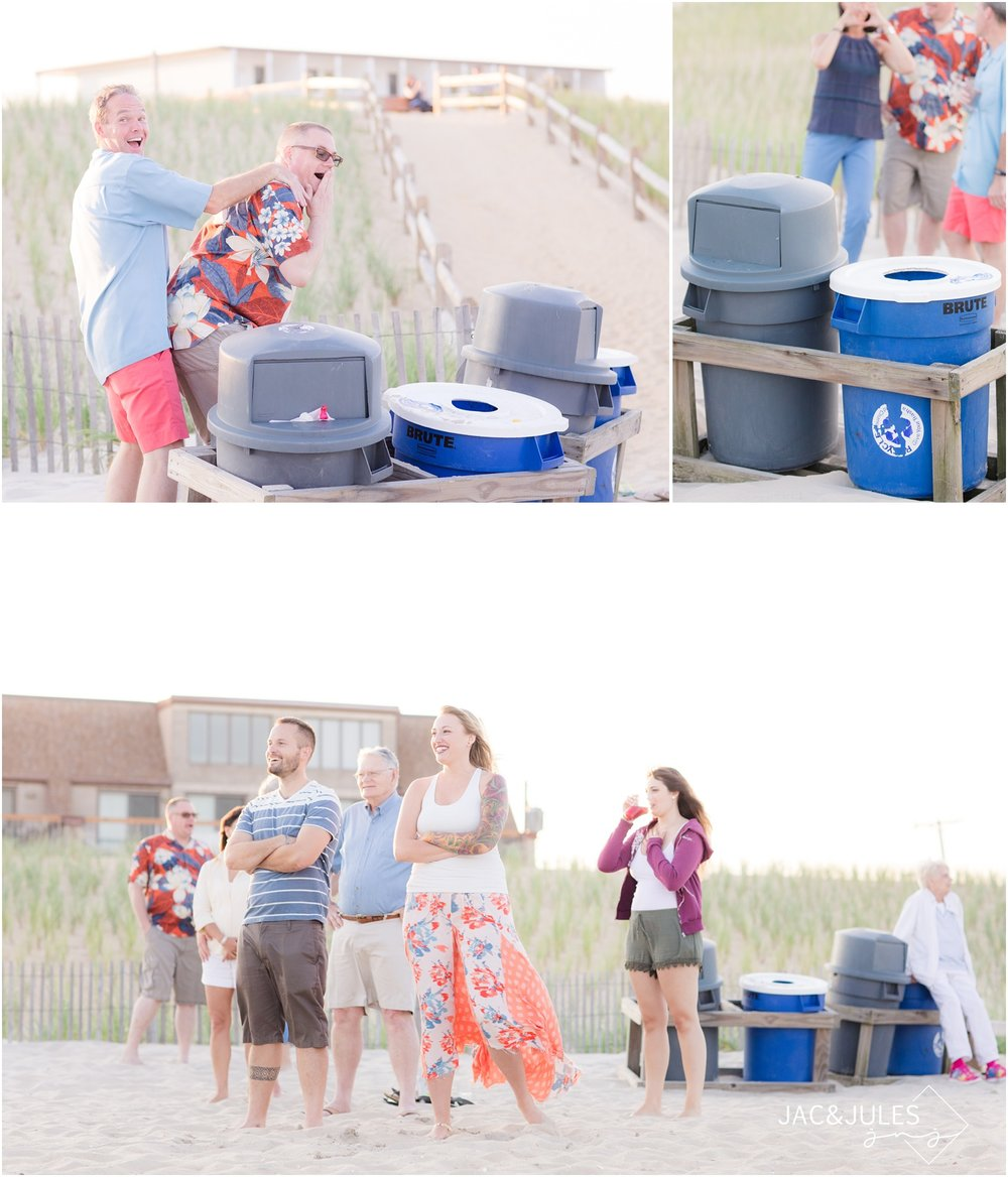 Photos with garbage cans in LBI, NJ.