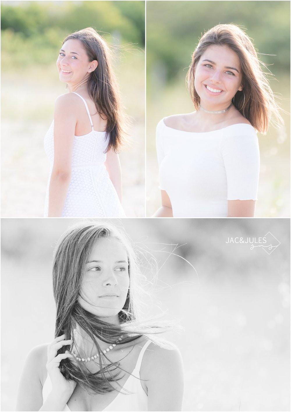 Pretty senior portraits on the beach in LBI