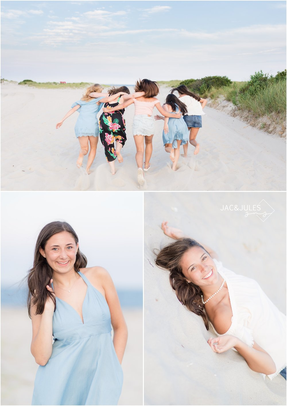Fun senior portraits with friends in Beach Haven, NJ.