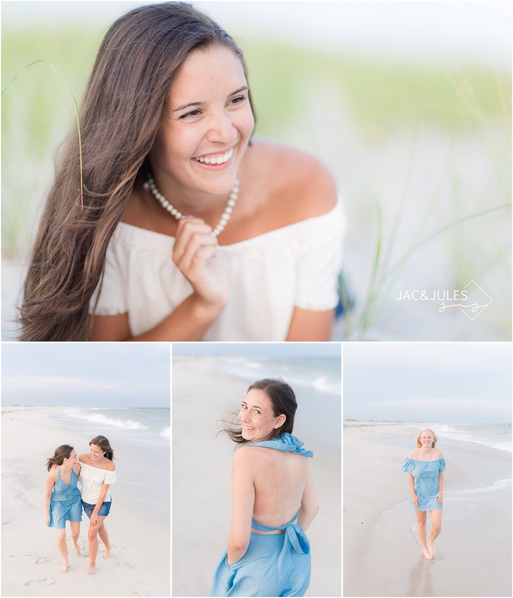 playful senior photos on the beach in LBI