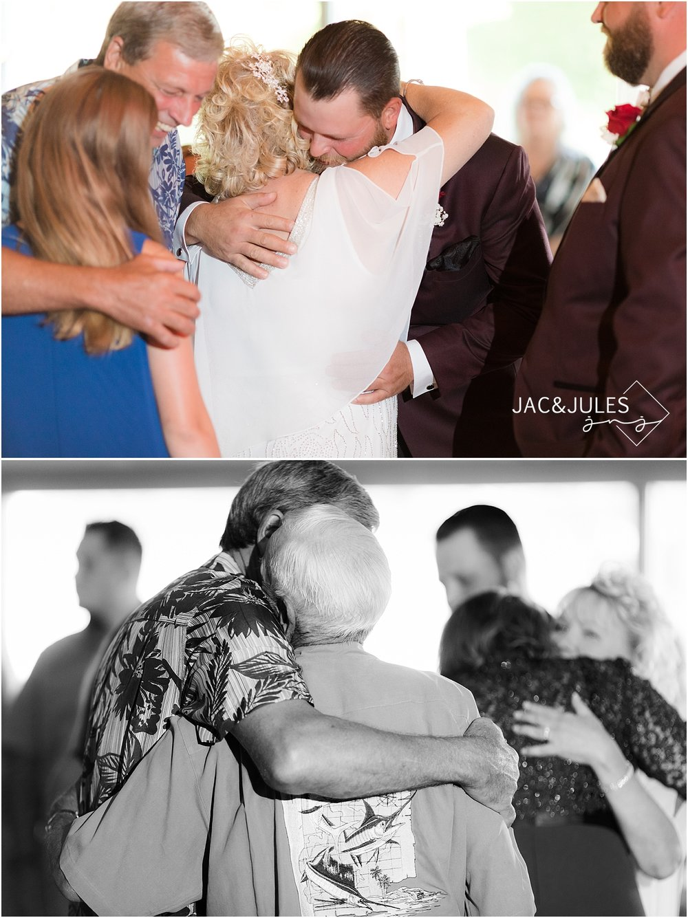 family hugging after wedding ceremony at captains inn in forked river nj