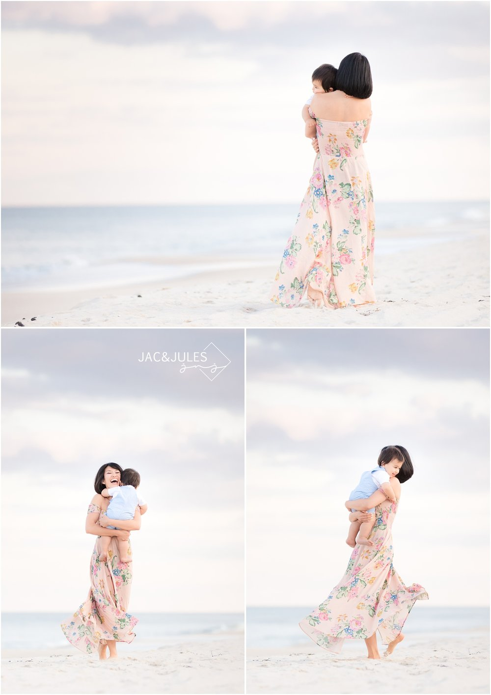 Pretty photos of sweet moment with Mom and son on the beach in Mantoloking, NJ.