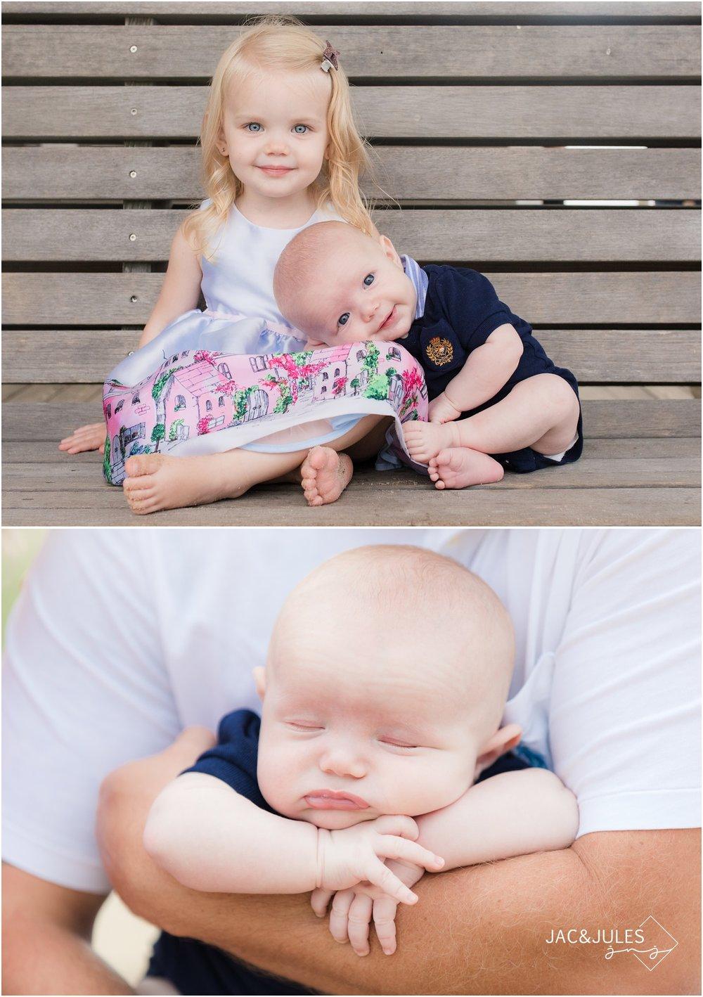 Newborn baby and big sister in Ocean Gate, NJ.