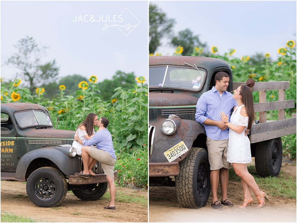 engagement photos in sunflower field at johnsons locust hall farm
